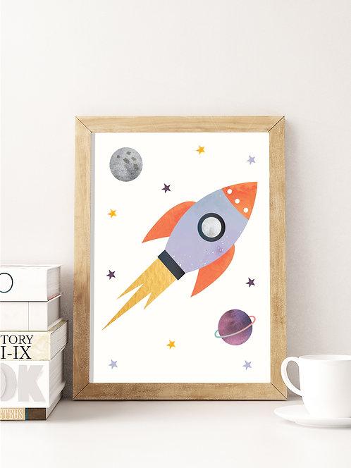פוסטר לחדר ילדים | עיצוב חדר ילדים | טיל בחלל