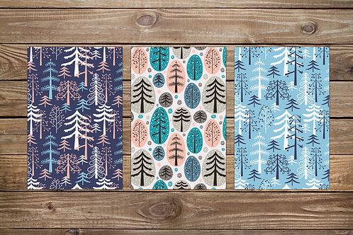 סט 3 גלויות מוכנות למסגור עצים | מארז גלויות | כרטיסי ברכה | עיצוב הבית
