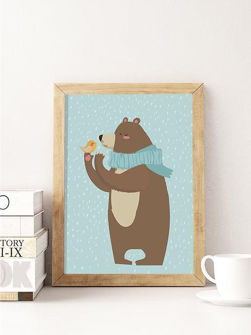 פוסטר לחדר ילדים | עיצוב חדר ילדים | דובי וציפור בשלג