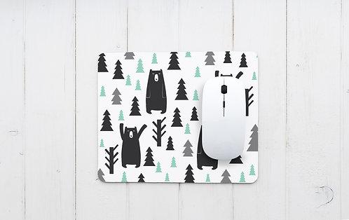 פד מעוצב לעכבר | משטח לעכבר מחשב | דגם דובים ביער