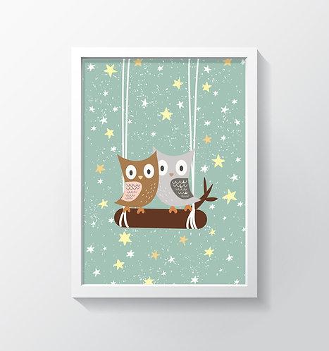 תמונה גדולה ממוסגרת | תמונה לחדר ילדים | ינשופים וכוכבים