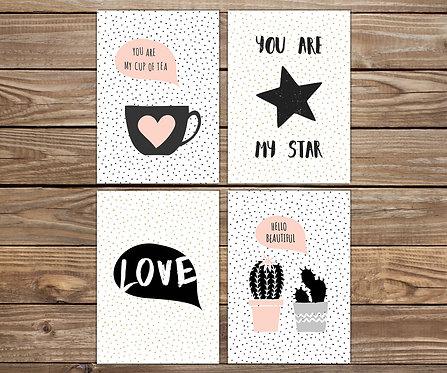 סט 4 גלויות מוכנות למסגור Love | מארז גלויות | עיצוב הבית