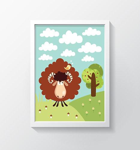 תמונה גדולה ממוסגרת | תמונה לחדר ילדים | כבש בראש הגבעה