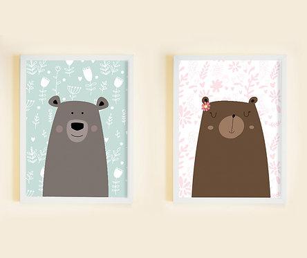 זוג תמונות גדולות ממוסגרות תואמות במחיר מיוחד! | תמונות לחדר ילדים | דובים