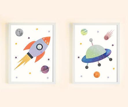 זוג תמונות גדולות ממוסגרות תואמות | תמונות לחדר ילדים | חלל
