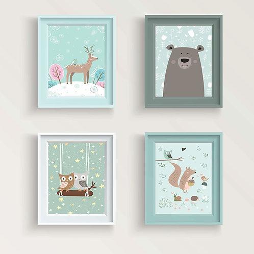 סט 4 גלויות למסגור | מארז גלויות | עיצוב הבית | חיות קסומות