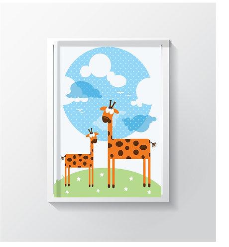 תמונה גדולה ממוסגרת | תמונה לחדר ילדים | ג'ירפות בעננים