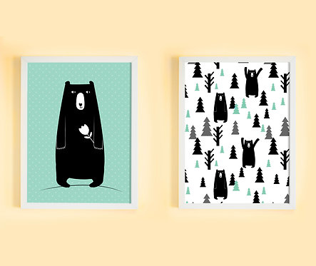 זוג תמונות גדולות ממוסגרות תואמות במחיר מיוחד! | תמונות לחדר ילדים | סט דובים