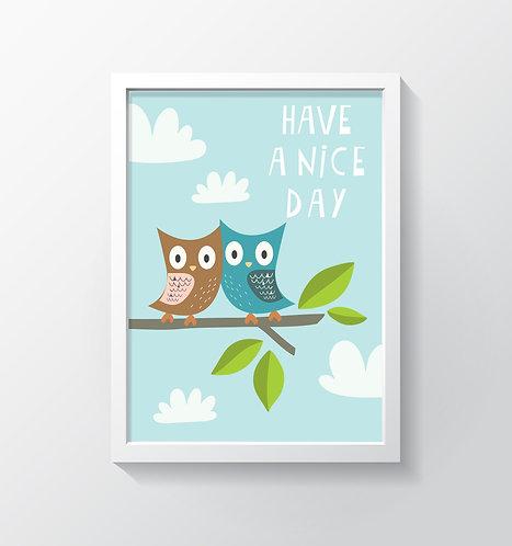 תמונה גדולה ממוסגרת | תמונה לחדר ילדים | ינשופים Have A Nice Day
