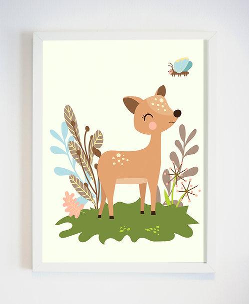 תמונה גדולה ממוסגרת | תמונה לחדר ילדים | במבי מתוק ביער