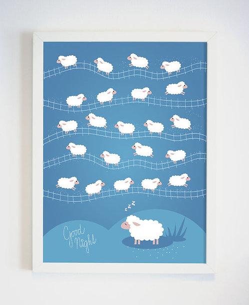 פוסטר לחדר ילדים   עיצוב חדר ילדים   ספירת כבשים