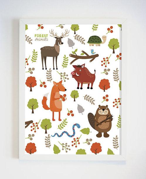 פוסטר לחדר ילדים | עיצוב חדר ילדים | חיות היער