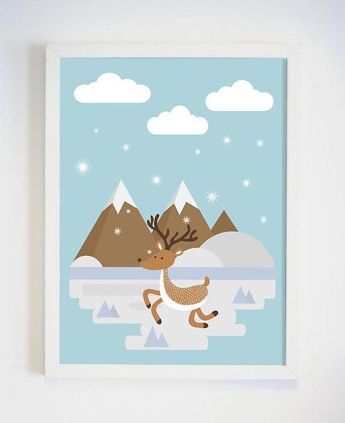 פוסטר לחדר ילדים | עיצוב חדר ילדים | צבי מקפץ בשלג