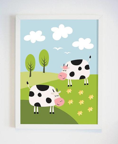 פוסטר לחדר ילדים | עיצוב חדר ילדים | פרות מאושרות