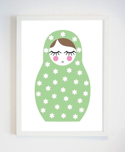 פוסטר לחדר ילדים | עיצוב חדר ילדים | מטריושקה ירוקה