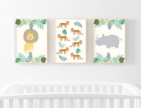 סט 3 תמונות גדולות ממוסגרות במחיר מיוחד! | תמונות לחדר ילדים | חיות הג'ונגל