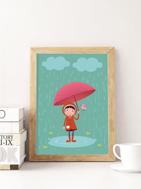 פוסטר לחדר ילדים | עיצוב חדר ילדים | ילדה עם מטריה