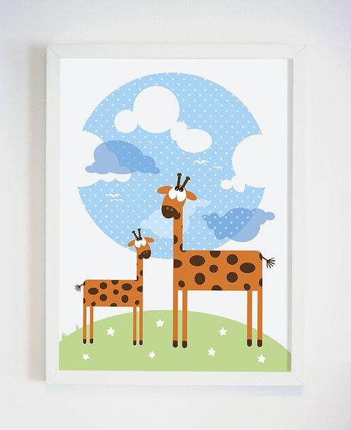 פוסטר לחדר ילדים | עיצוב חדר ילדים | ג'ירפות בעננים