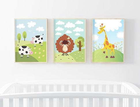 סט 3 תמונות גדולות ממוסגרות במחיר מיוחד! | תמונות לחדר ילדים | כבש ג'ירפה ופרות