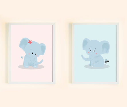 זוג תמונות גדולות ממוסגרות תואמות | תמונות לחדר ילדים | פילון מתוק ופילונת