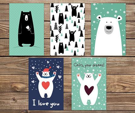 סט 5 גלויות מוכנות למסגור דובים   מארז גלויות   כרטיסי ברכה