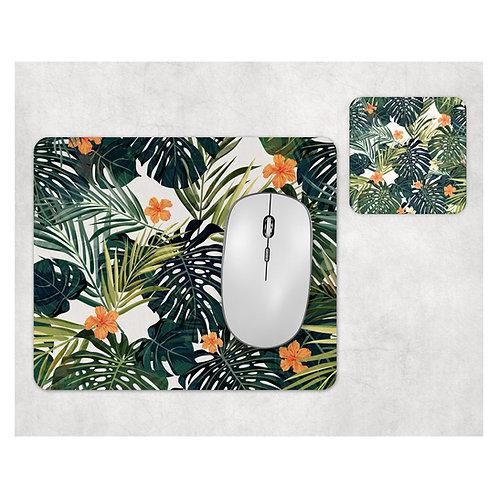 סט פד מעוצב לעכבר ותחתית לכוס | פרחים טרופים