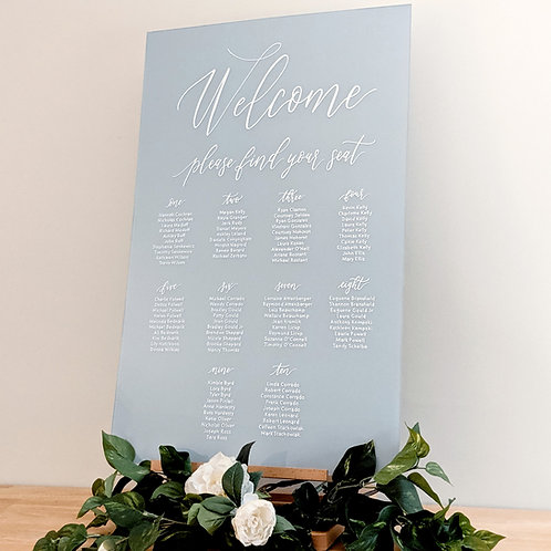 Seating Chart with Welcome | Solid Colored Acrylic