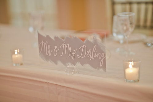 Mr and Mrs Sign   Sweetheart Table Acrylic Sign