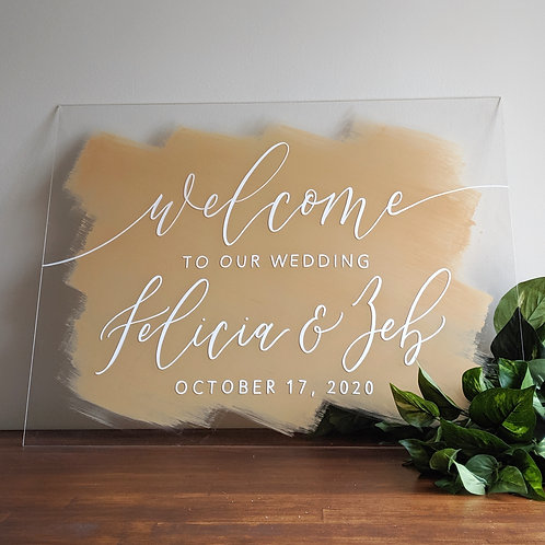 Welcome To Our Wedding Sign | Brushed Acrylic
