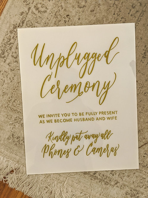 Small Unplugged Ceremony Sign | Painted Acrylic