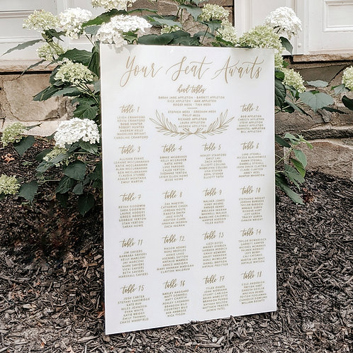 Your Seat Awaits with greenery detail Seating Chart | Colored Acrylic