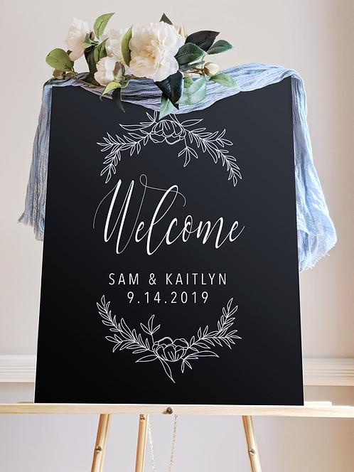 Welcome Wedding Sign with Wreath | Solid Acrylic