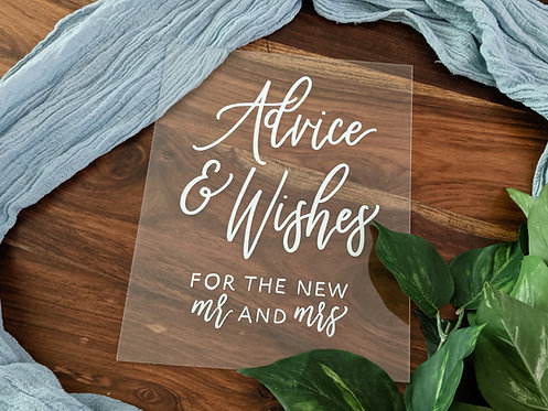 Advice and Wishes For the New Mr and Mrs Acrylic Sign