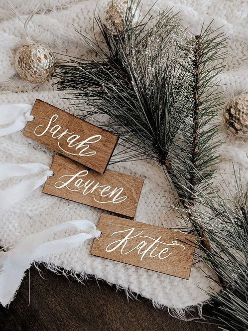 Set of 5 Custom Walnut Gift/Stocking Tags