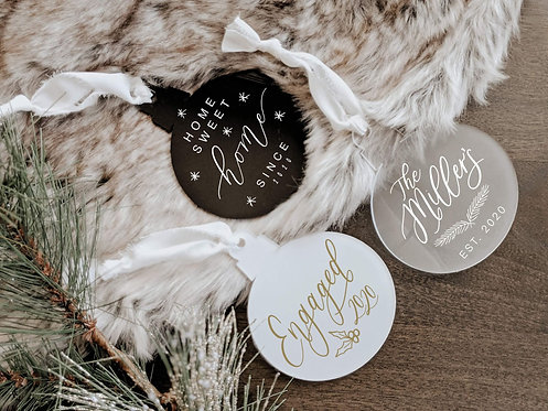 Set of 3 Custom Acrylic Christmas Ornaments