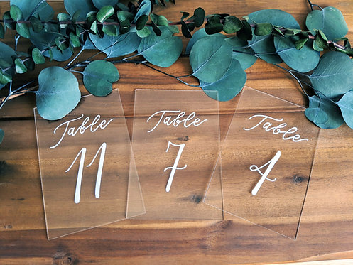 Table Numbers | Clear Acrylic