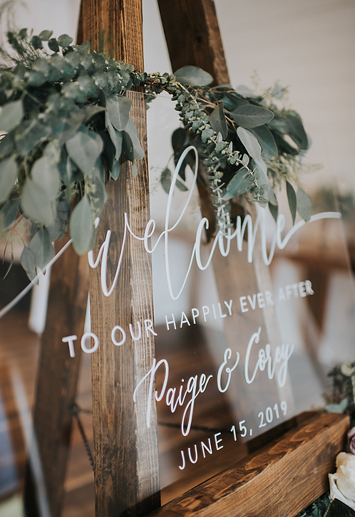 Clear Welcome To Our Happily Ever After Sign | Brushed Acrylic