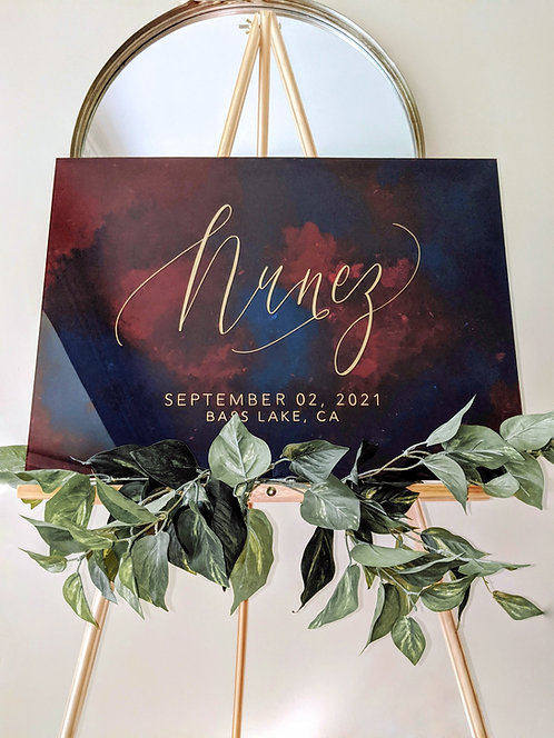 Painted Watercolor/Marble Last Name Acrylic Wedding Sign