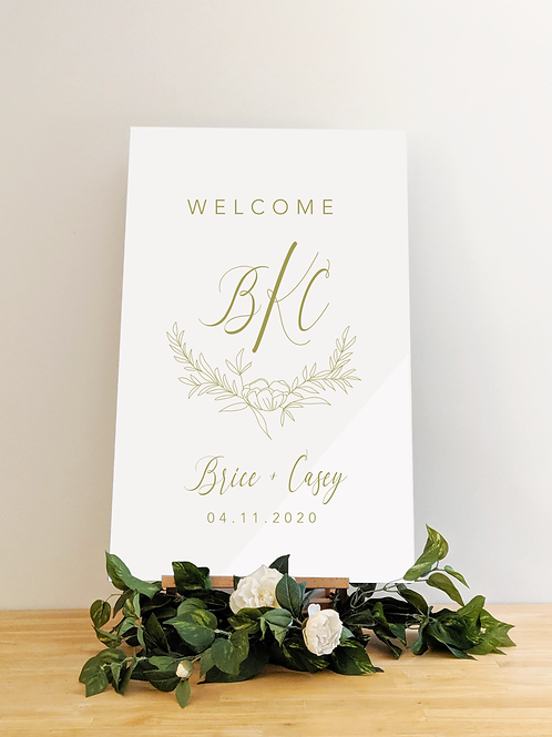 Acrylic Welcome Wedding Sign with Wreath