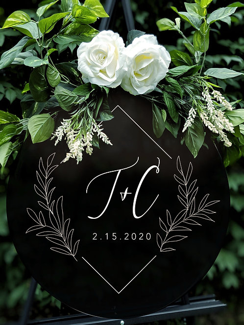 Modern Initials Wedding Sign with Wreath | Round Solid Acrylic