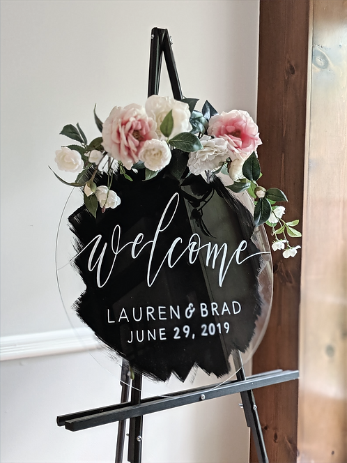 Welcome Sign | Round Brushed Acrylic