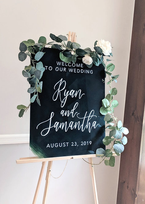 Welcome To Our Wedding with Names Sign | Painted Acrylic
