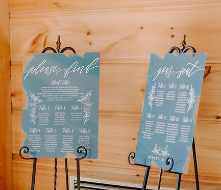 Two Piece Seating Chart with Greenery Illustration | Brushed Acrylic