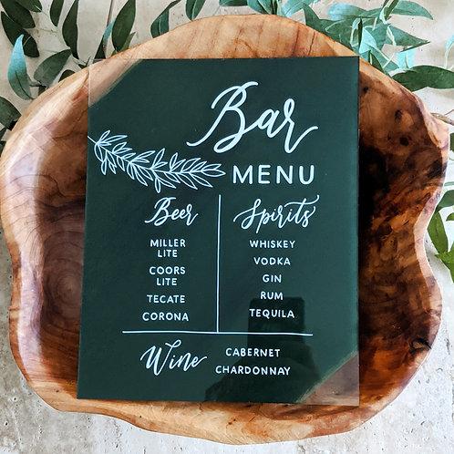 Bar Menu Acrylic Sign | Beer, Spirits and Wine List