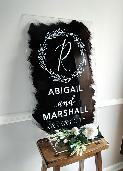 Wedding Sign with Wreath | Brushed Acrylic