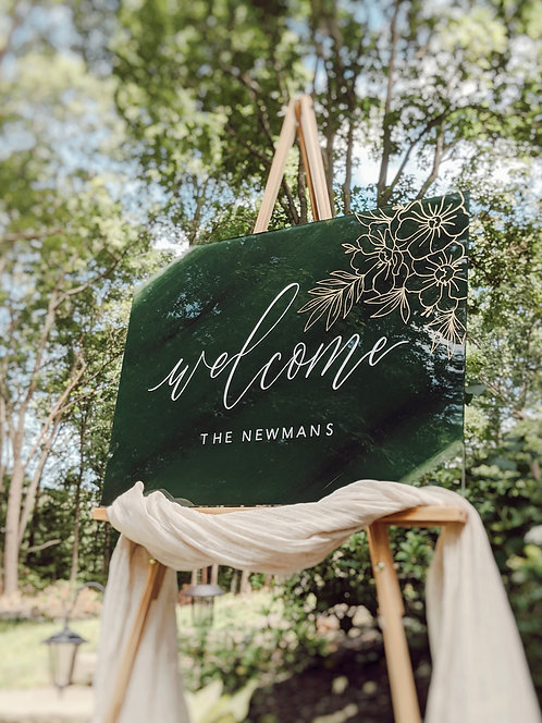 Welcome Sign with Floral Detail | Acrylic