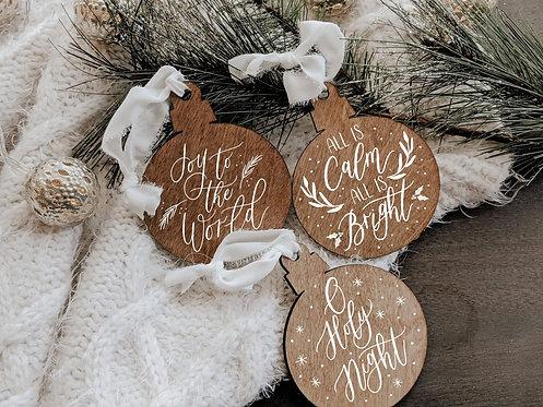 Set of 3 Custom Wood Ornaments