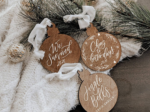 Set of 3 Covid Christmas Wood Ornaments