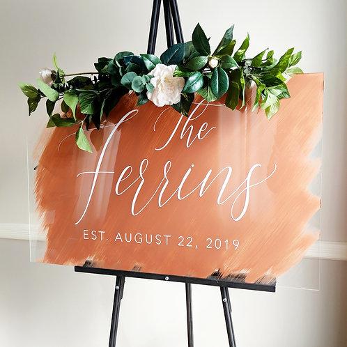 Last Name Established Sign | Brushed Acrylic
