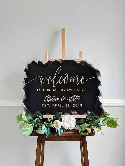 Welcome To Our Happily Ever After Sign | Brushed Acrylic